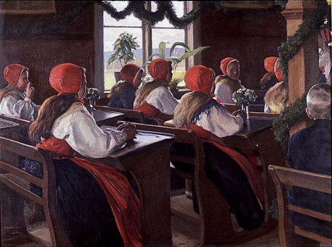 Examen i Leksand av Gustaf Ankarcrona (1869-1933), olja, 1903, inköpt 1939