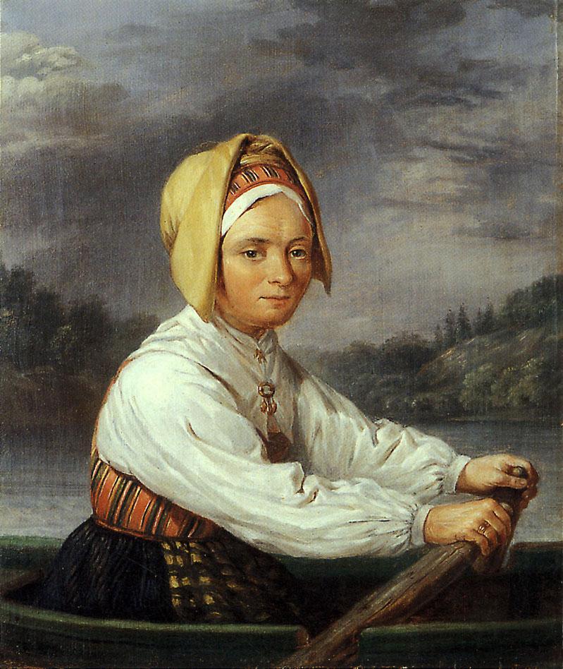 Roende kulla av Nils Andersson (1817-1865), olja